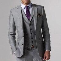 Серый свадебный смокинг индивидуальный заказ серые костюмы Серый Жених костюм мужские серый смокинг, 2017 серый Свадебные смокинги, 3 предмет