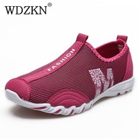 New Arrival Breathable Air Mesh Shoes Woman Summer Walking Casual Shoes Lightweight Slip On Flat Women