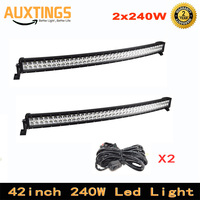 42inch 2pcs 240W Curved LED Light Bar Offroad Led Bar Combo Beam Led Work Light Bar 12v 24v 4WD Driving Lamp
