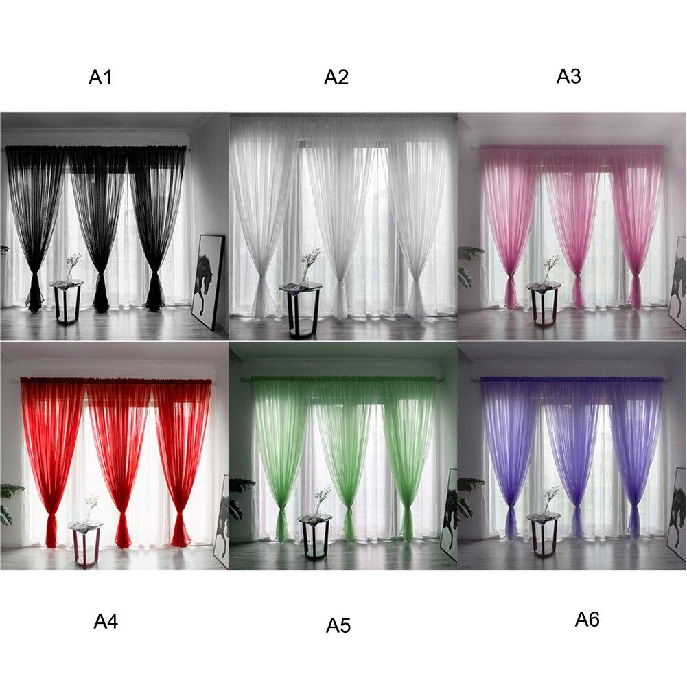 1 Pc Deur Gordijn Drape Panel Sheer Sjaal Valletjes Gordijn Pure Kleur Tulle Moderne Slaapkamer Woonkamer Gordijn Cortinas M8