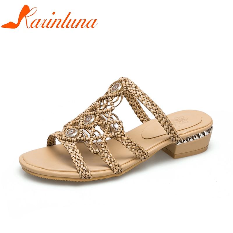Karinluna/Большие размеры 30-46 хорошего качества летняя обувь женские тапочки Модные Тканые квадратном каблуке для отдыха шлепанцы женская обув...