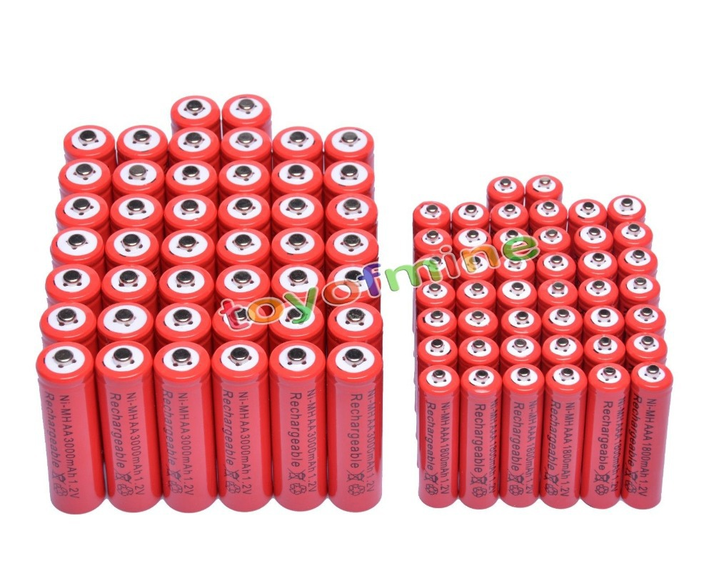 44x AA 3000 mAh + 44x AAA 1800 mAh 1.2 V NiMH couleur rouge batterie Rechargeable 2A 3A