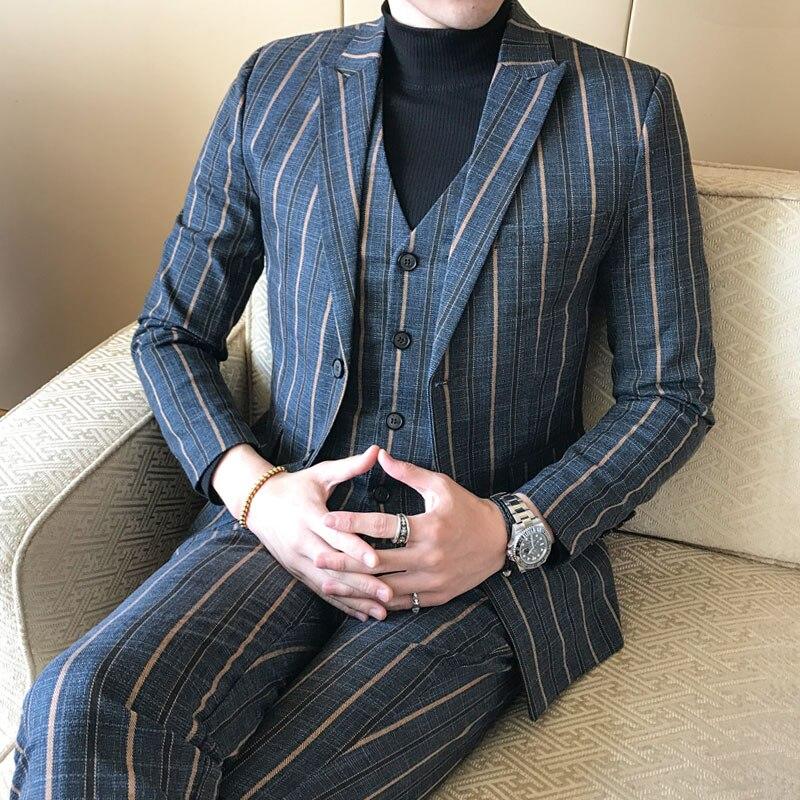 Große Größe 4XL 5XL männer Streifen Anzug Jacke + Pants + westen Fashion Business Männer Beliebte Gentleman Anzüge Blazer Mäntel 2018