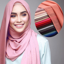 Summer Glitters Bubble Chiffon Muslim Hijab Scarf Shawl Head Wrap Plain Color Islamic women silk scarf hijabs clothing 2018 women scarf muslim hijab scarf chiffon hijab plain silk shawl scarveshead wrap muslim head scarf hijab