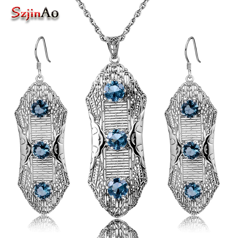 Szjinao Luxury Wedding Jewelry Sets Women Anniversary Pure 925 Sterling Silver Plant Aquamarine Pendant Earring Vintage