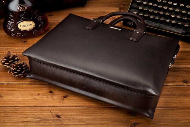 YINTE Men's Briefcase Leather Business Handbag A4 Paper Messenger Bag Laptop Shoulder Bag  Men Brown HandbagTotes T8196-5