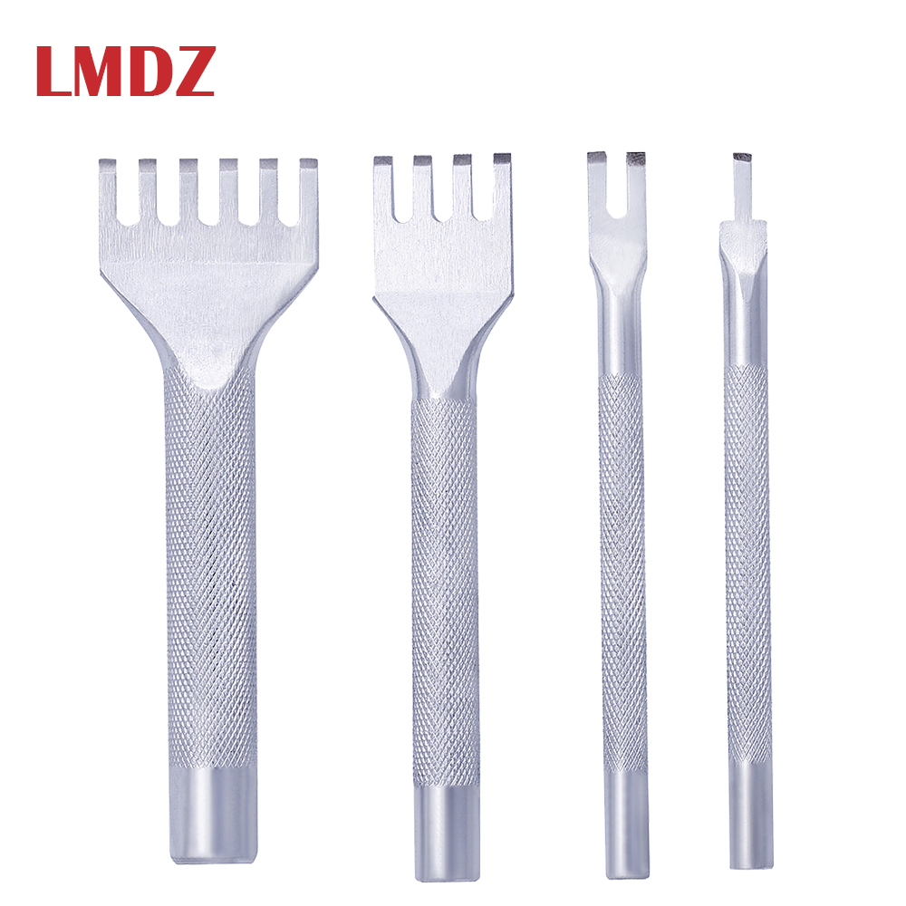LMDZ Leather Craft Hole Punch Tools 1/2/4/6 Prong Inch Chisel Leather Craft Tools Hole Punch Lacing Stitching Perforate (4 MM)