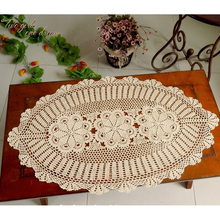 Oval Handmade Crochet Tablecloth Vintage Cotton Lace Openwork Placemat European American country Gift Braided Runner White Beige
