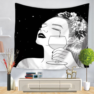 Image 4 - Pop Art Black White Creative Tapestry Polyester Rectangular Living Room Bedroom Home Decor Background Decoration Wall Hanging