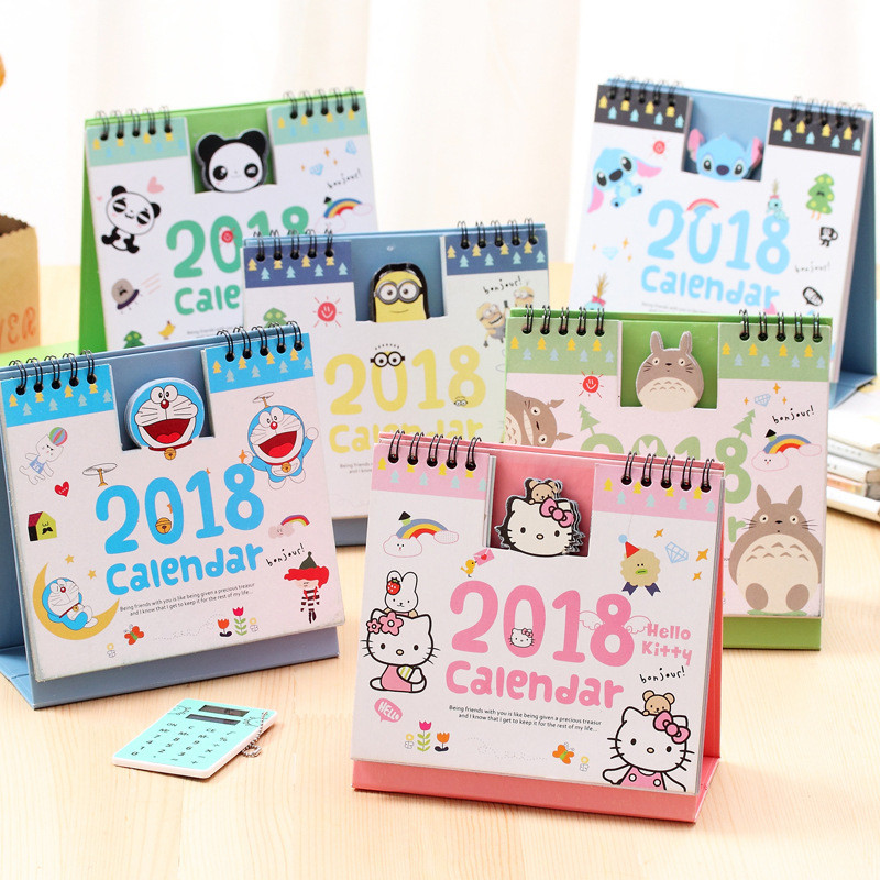 Korean Cute 2018 Year Table Desk Calendar Hello Kitty Totoro Doraemon Panda Planner Desktop Organizer DIY Kawaii Lovely Agenda