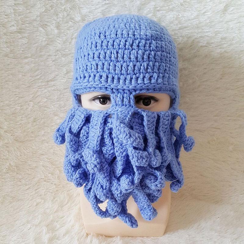 Maxmessy regalos de Halloween sombreros de invierno gorro cráneo Cara  divertido tentáculo máscara hecha a mano animal beards Octopus gorras  crocheted mh056 ... a1625ec1620