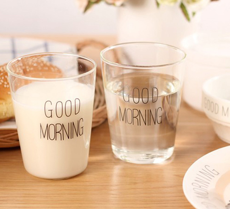 Heat-resistant Glass Mug 330ml Brief Style Good Morning Glass Breakfast Cups Glassware Cups Mugs for Milk Smoothie Drinkware
