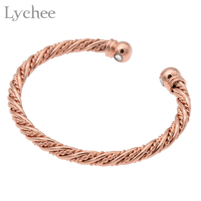 Lychee Copper Magnetic Healing Therapy Bracelet Rose Gold Color Arthritis Pain Relief Cuff Bangle Jewelry