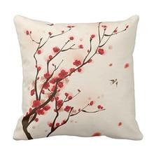 Estilo oriental plum blossom en primavera live love laugh cremallera decoración cojín funda de almohada decorativa para sala de estar