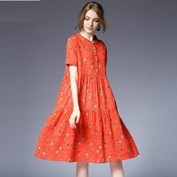 2018Summer Women Loose Fit Floral Flare Dress Plus Size Cotton Linen Dress Short Sleeves Female Knee