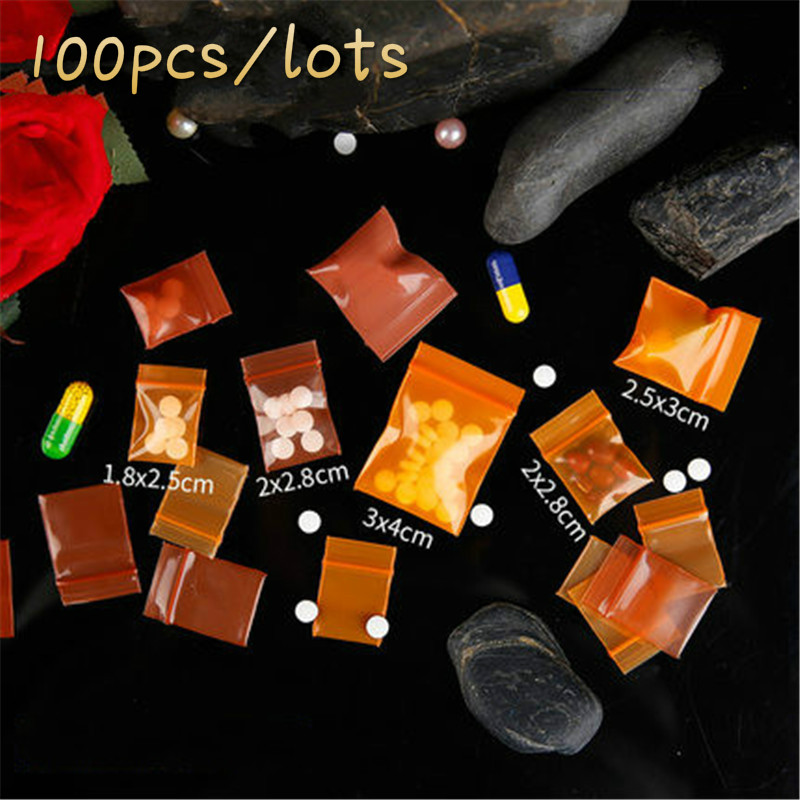 20 wires Colored Transparent Ziplock Bag Orange Brown Jewellery Bag Small Thickening Pocket Sealed Bags Accessories Jewelry Bag in Storage Bags from Home Garden