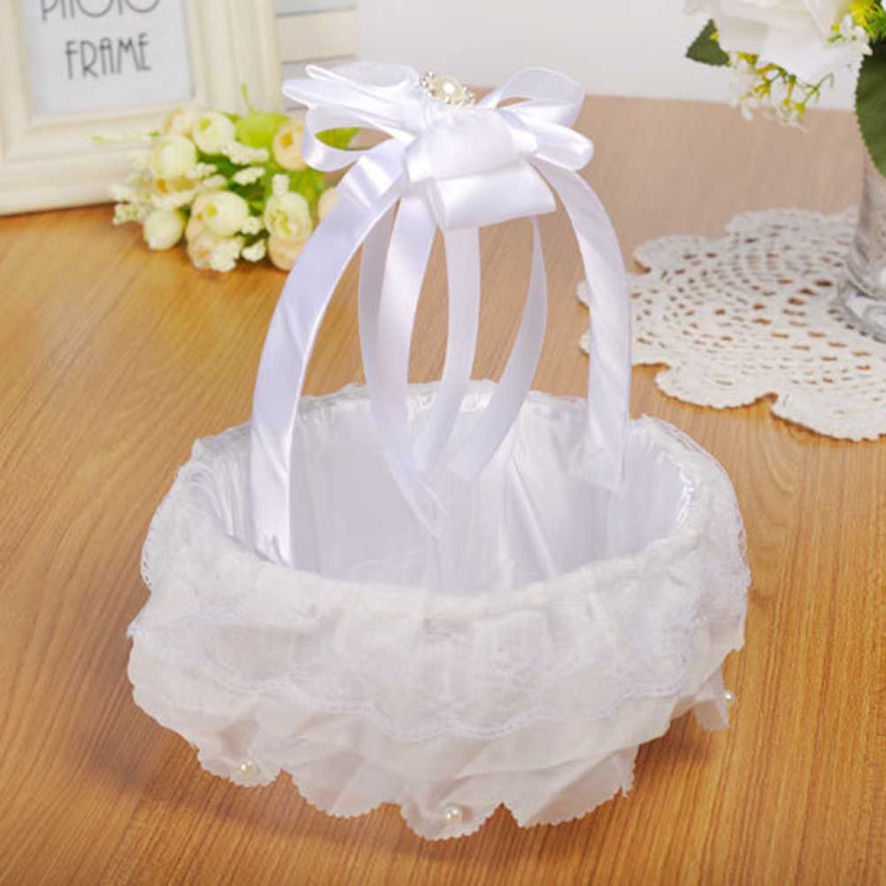 Wedding White Flower Basket Lace Ribbon Candy Storage Basket Western Wedding Supplies KM88 in Photobooth Props from Home Garden
