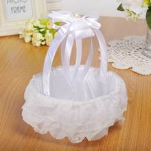 цена на Wedding White Flower Basket Lace Ribbon Candy Storage Basket Western Wedding Supplies KM88