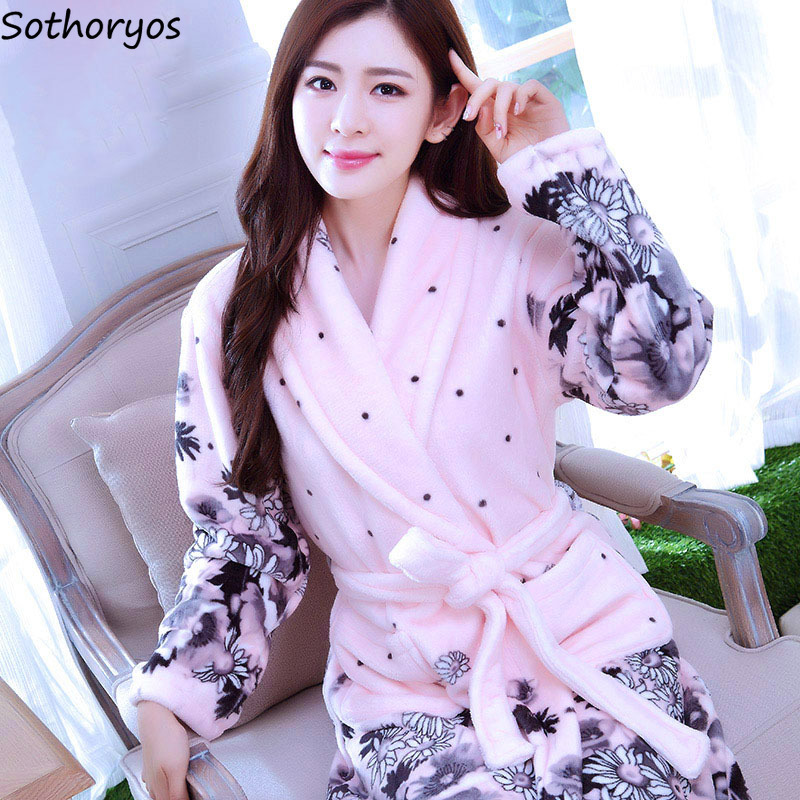 Image 4 - Robes Women Plus Size Print Flannel Korean Kawaii Long Sleeve Thicker Warm Nightwear Soft Bathrobe Womens Simple High Quality-in Robes from Underwear & Sleepwears