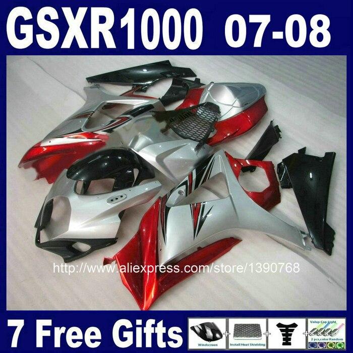 Высококачественная ABS Полный обтекатели для SUZUKI K7 GSXR1000 2007 2008 красный черный серебряный обтекатель комплект GSXR 1000 07 08 FF97+ 7 подарки
