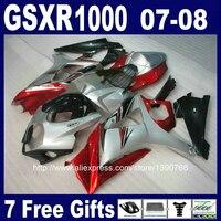 High grade ABS full fairings set for SUZUKI K7 GSXR1000 2007 2008 red black silver fairing kit GSXR 1000 07 08 FF97 +7 gifts