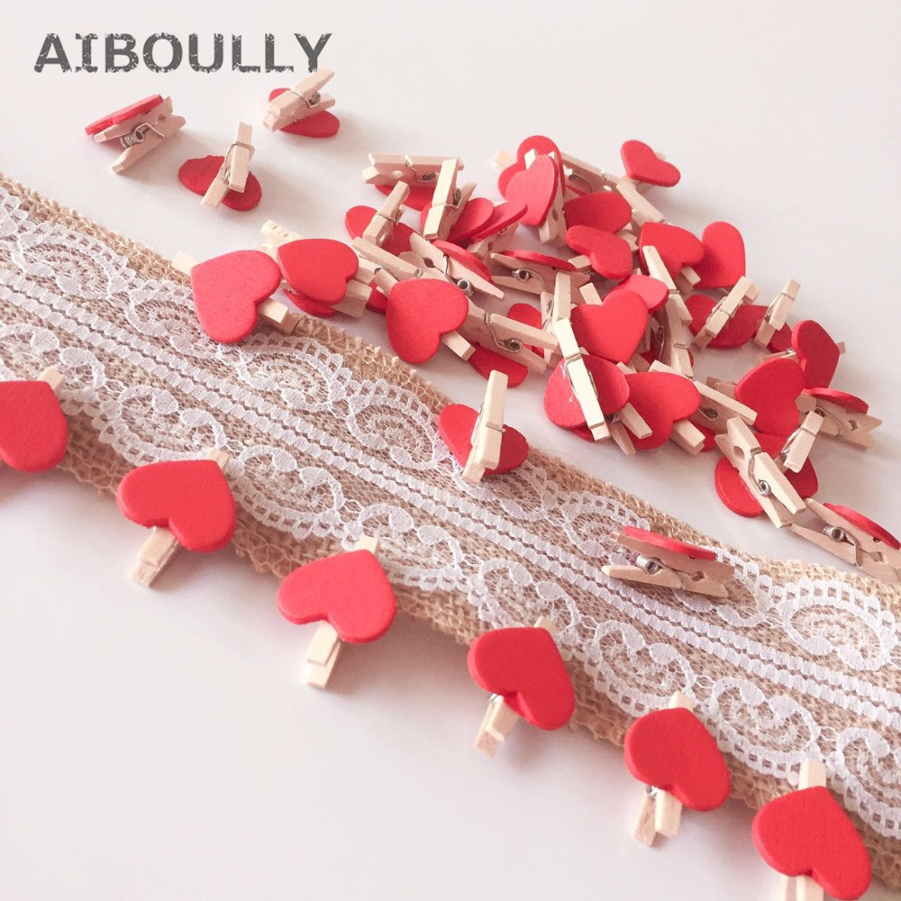 50pcs/lot Mini Red Wooden Peg Clips Love Heart Shape Photo Clamp Holder Crafts Home Wedding Favor Decor Party Supplies