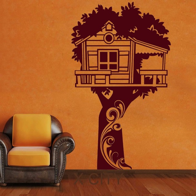 Adorable Tree House Fairyland Hut Wall Decals Vinyl Sticker Kids Baby  Nursery Bedroom Decor Home Art