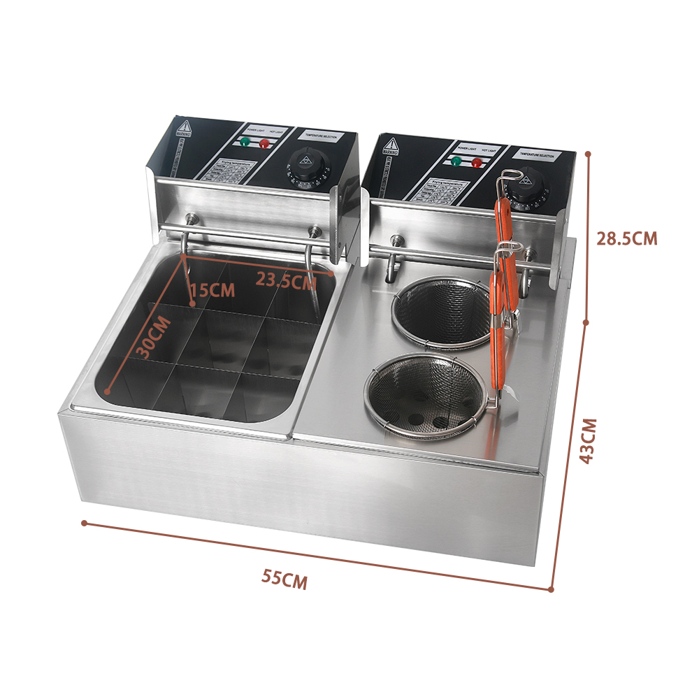 Itop Commercial Electric Pasta Boiler & Oden Cooking Machine Stainless Steel 8l/Tank Deep Fryer Machine 110v/220v