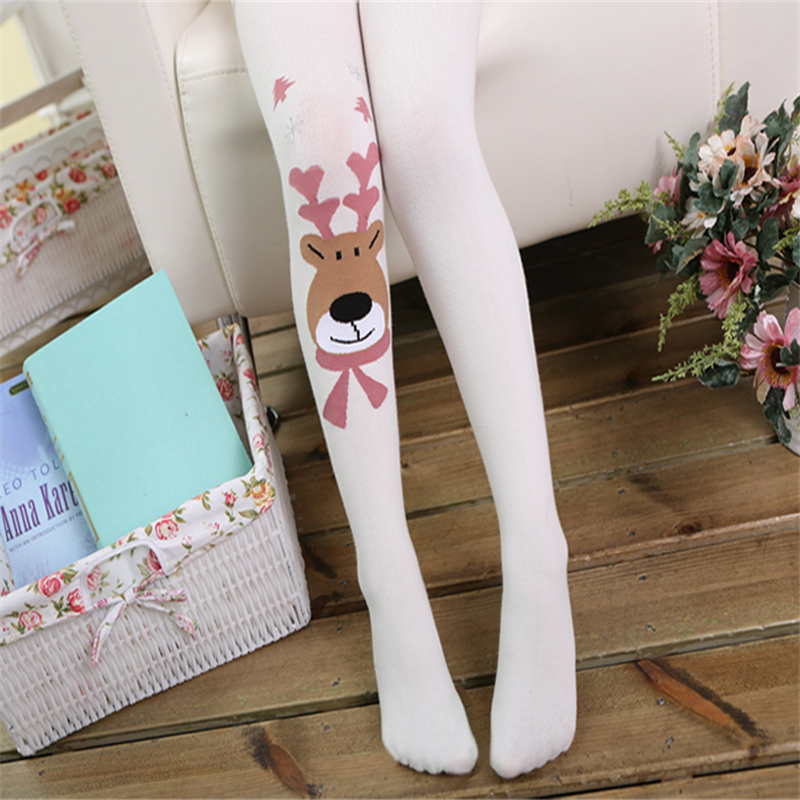 christmas style cartoon elk baby girls pantyhose 100cotton knitted toddler tights high elastic soft girls stocking kids tights in tights stockings from