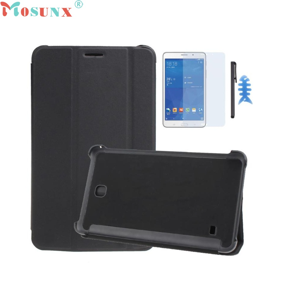 Beautiful Gitf Leather Case Stand Cover For Samsung Galaxy Tab 4 7Inch Tablet SM-T230 SM-T231+Film Pen Reel Drop Shipping Jan04