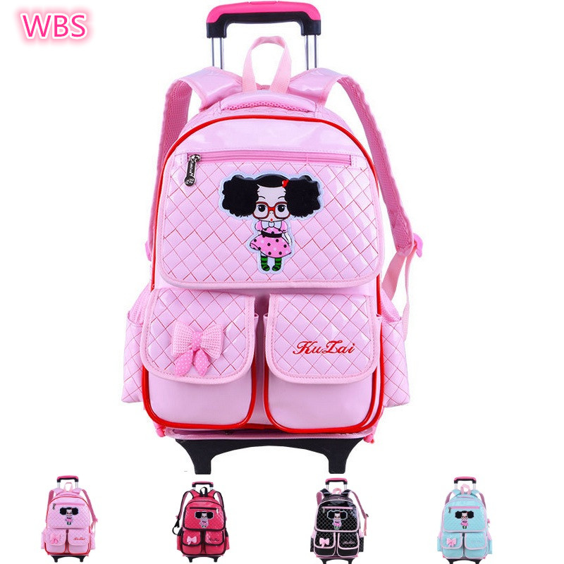 ФОТО PU Nylon Girls School Backpack With Wheel Mochila Escolar Com Rodinha Towbar School Bag Trolley Luggage Travel Backpack