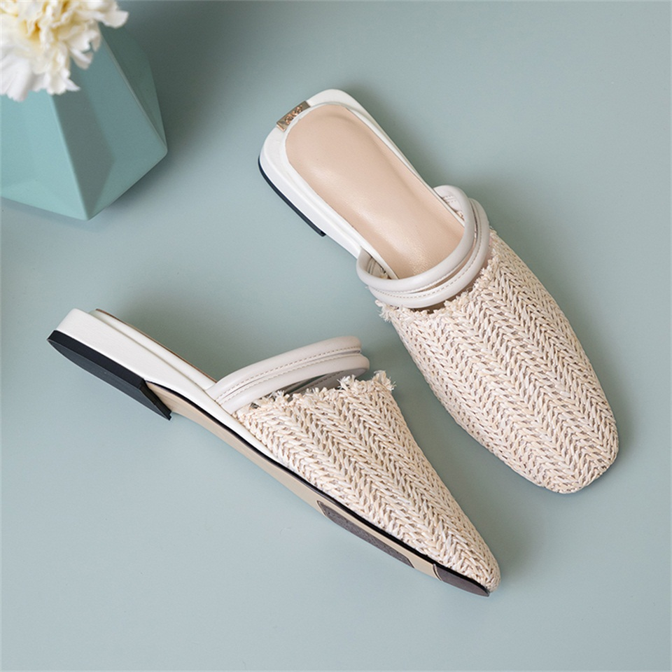 2019 summer women 39 s slippers real leather comfortable inner sandals fashion design square toe female slippers in Slippers from Shoes