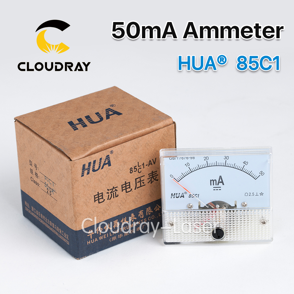 Cloudray 50mA Ammeter HUA 85C1 DC 0-50mA Analog Amp Panel Meter Current for CO2 Laser Engraving Cutting Machine