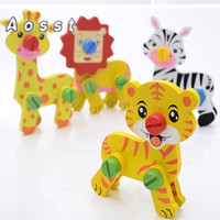 AOSST puzzle animals The new modular building blocks assembled wooden disassembling animals Children's educational toys
