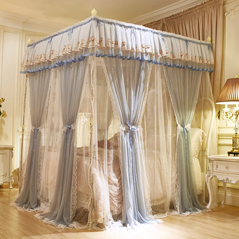 Gray Green Pink Double-deck Romantic White Lace Luxury Palac Style Three-door Quadrate Floor-standing Mosquito Net Bedding Set