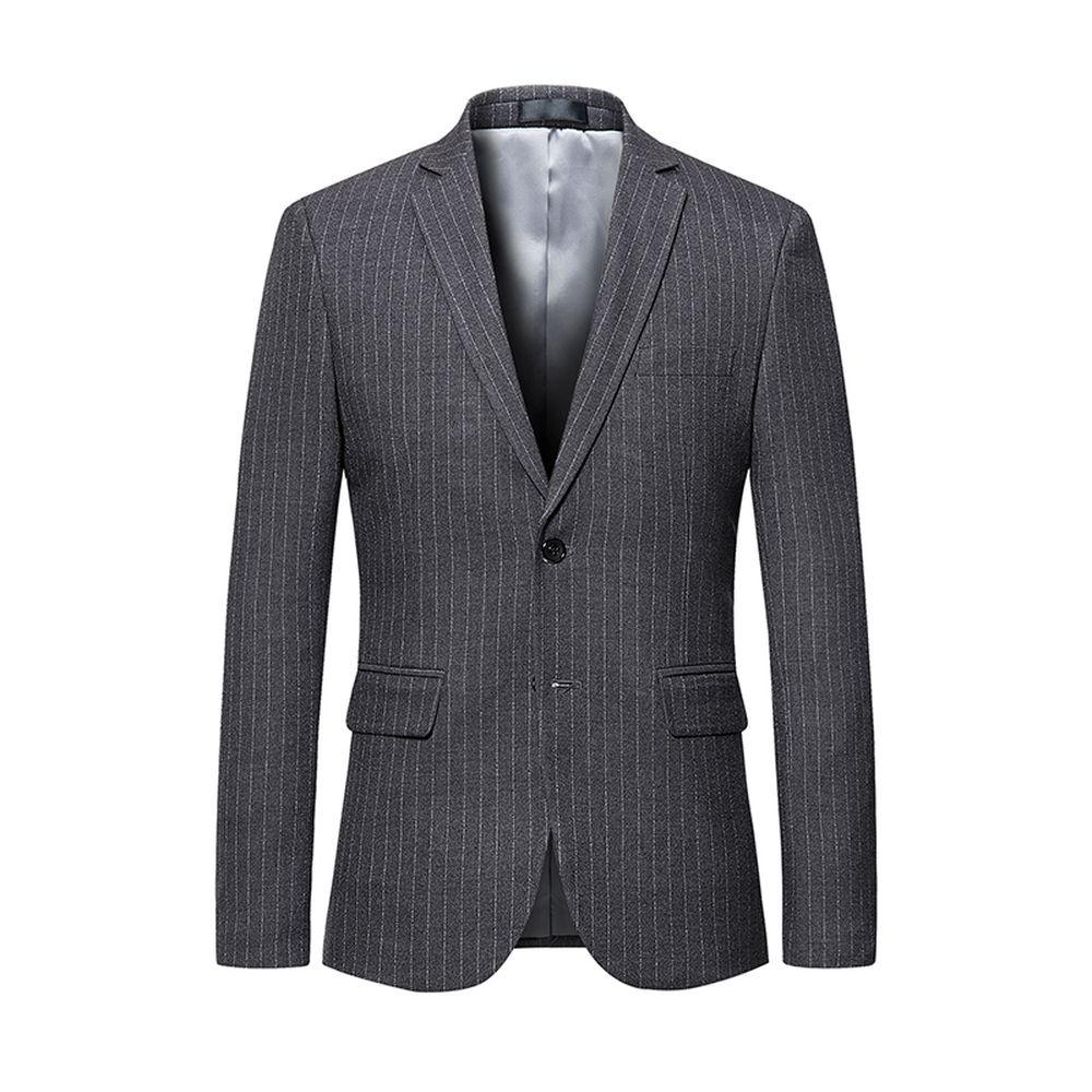 274335f48d Men Blazer 2018 Slim Fit Striped Suit jacket Clothing Navy Blue Gray Business  Casual Blazers Big