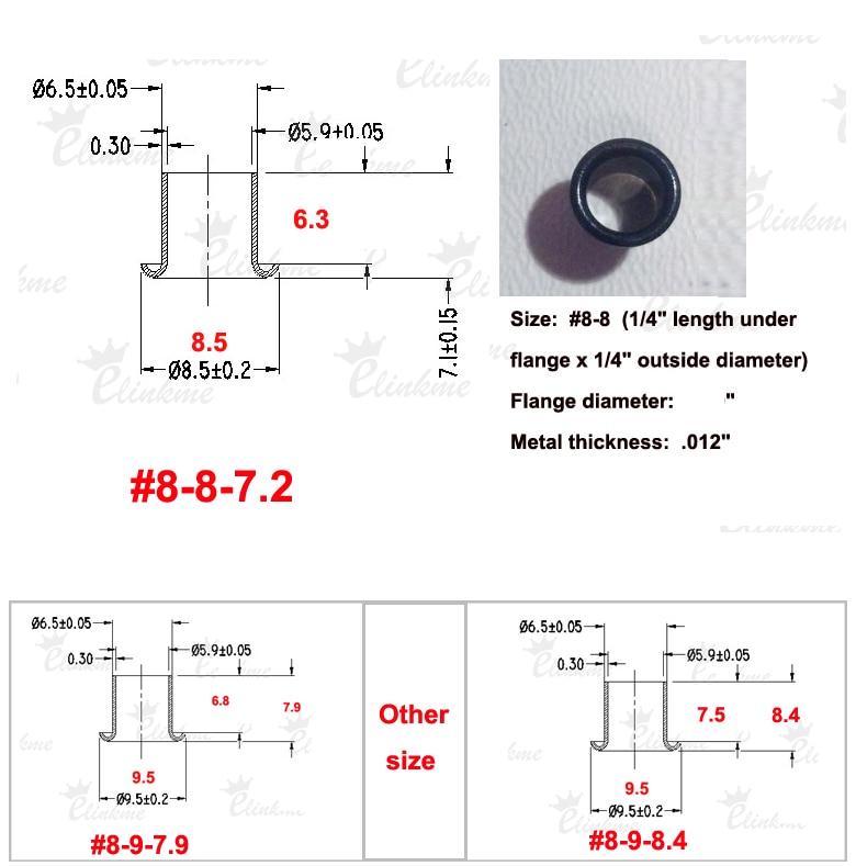 "#8-8-7.2 1//4/"" Pure copper Black Rivets Eyelets Custom DIY Kydex Holster Hardware"