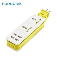 FORNORM ЕС Plug электрический удлинитель Outlet портативный путешествия мощность полосы стабилизатор напряжения с 4 USB 5 В в 2A выход) Smart зарядное устройство стены
