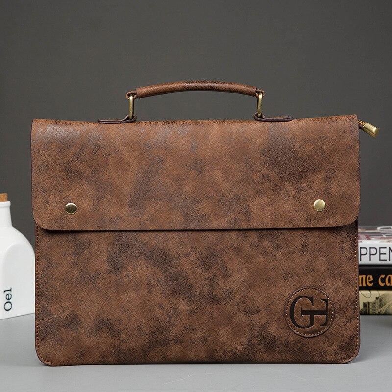 2019 Brand Vintage PU Leather Handbag Solid Portable Men Briefcase Casual Messenger File Bag Male Business Office Man Tote