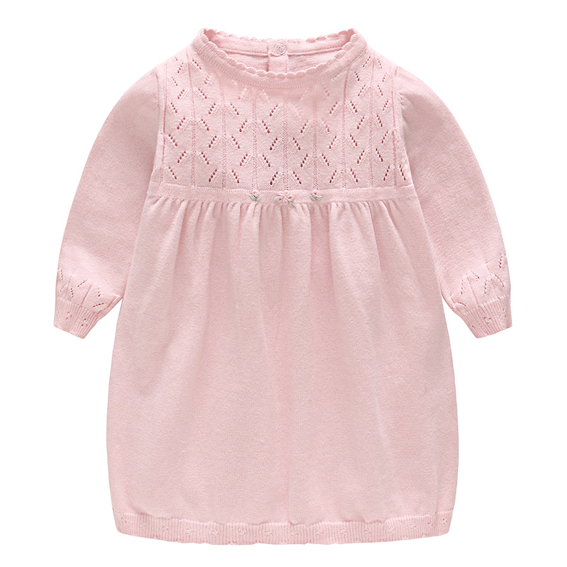 Brand Baby Girl Dress New Spring Long-sleeve Knitted Pink Dress Newborn Baby Floral Princess Dress Girls Clothing