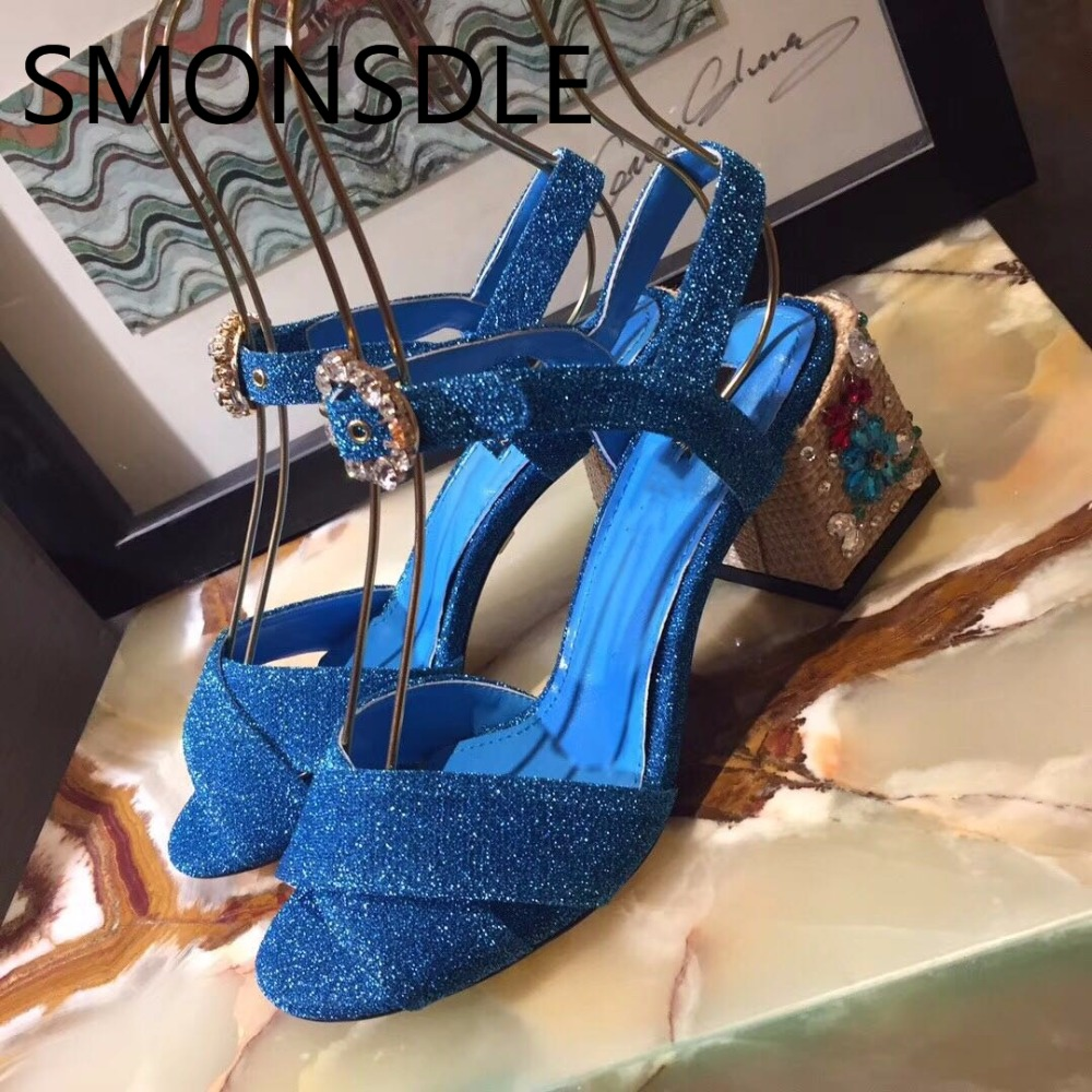 2018 New Fashion Summer Genuine Leather Women Sandals Crystal Flower Thick Heel Women Shoes Buckle Strap Party Shoes Woman xiaying smile summer woman sandals square cover heel woman pumps buckle strap fashion casual flower flock student women shoes