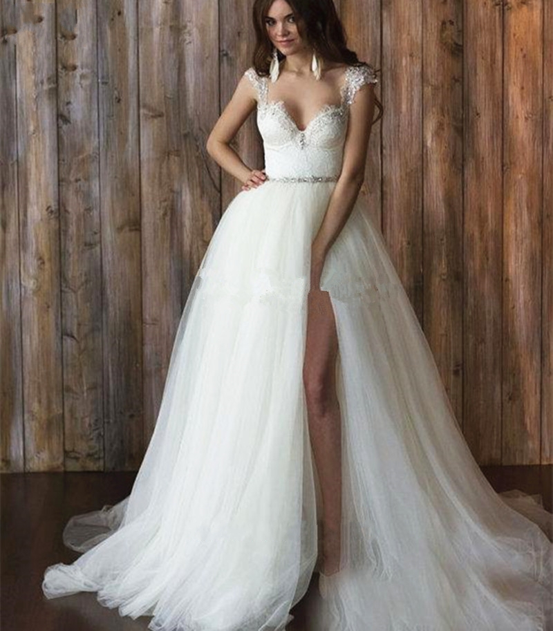 Bridal Dress With Detachable Train: Lace Detachable Skirt Wedding Dress 2016 Train Removable