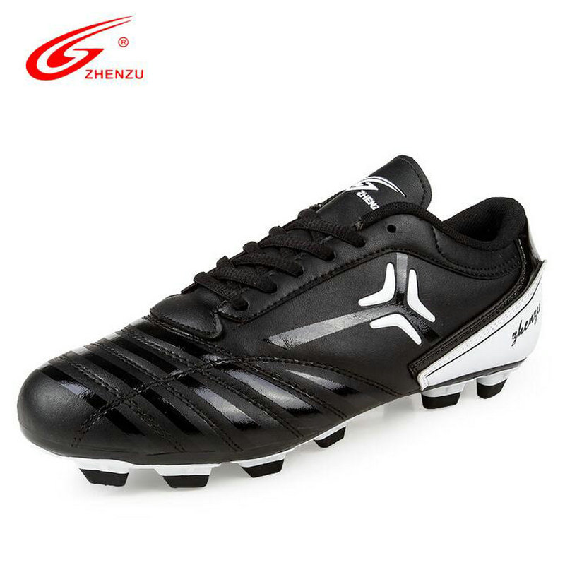 ZHENZU Man Tennager Soccer Shoes Professional Training Sneaker Leather Black Football Shoes Size 35-45 Fast Shipping