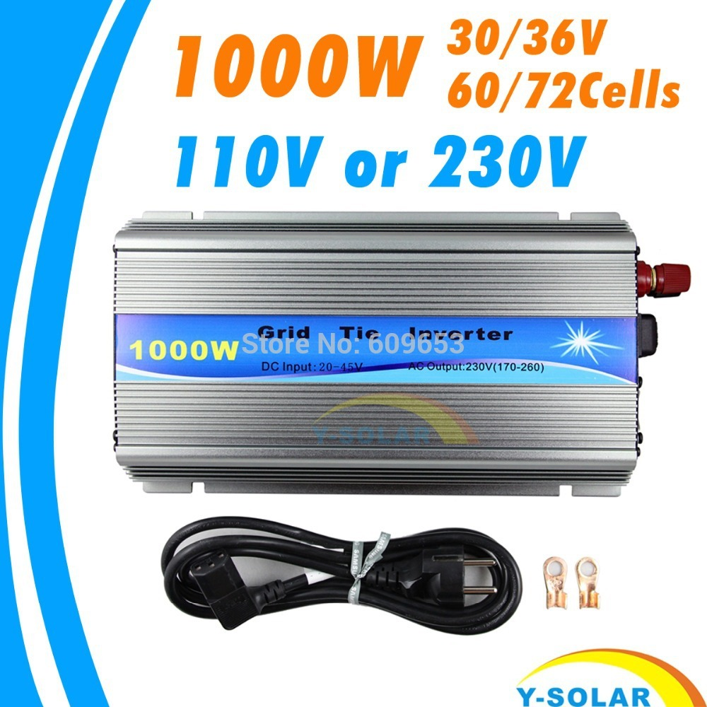 Фото 1000W 30V/36V Grid Tie Inverter MPPT function Pure Sine wave 110V OR 230V output 60 72 CELLS panel input on grid tie inverter