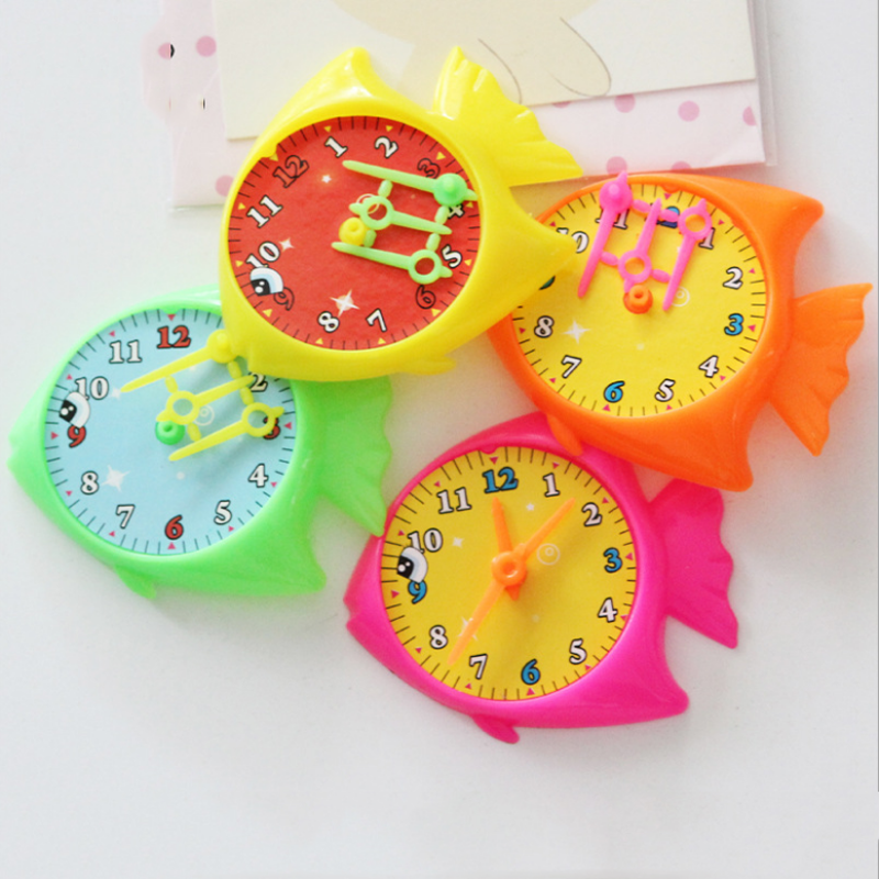 5 pcs Creative Children Colorful Plastic Fish modeling Clocks Watches Clocks Watches Early Education Funny Games Baby Toys