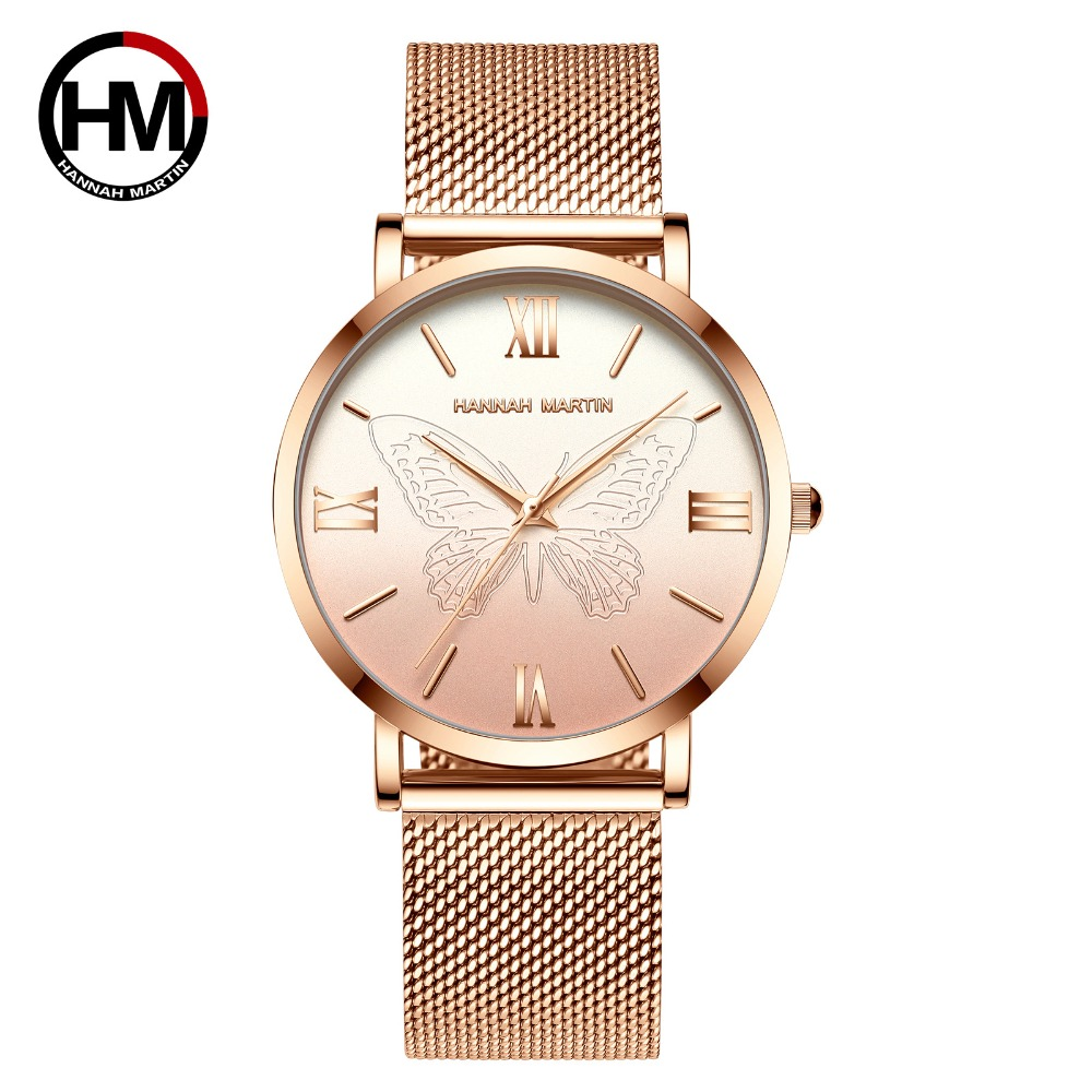Hannah Martin Luxury Women Watches Rose Gold Butterfly Elegant Ladies Dress Watch Stainless Steel Waterproof Quartz Wristwatches