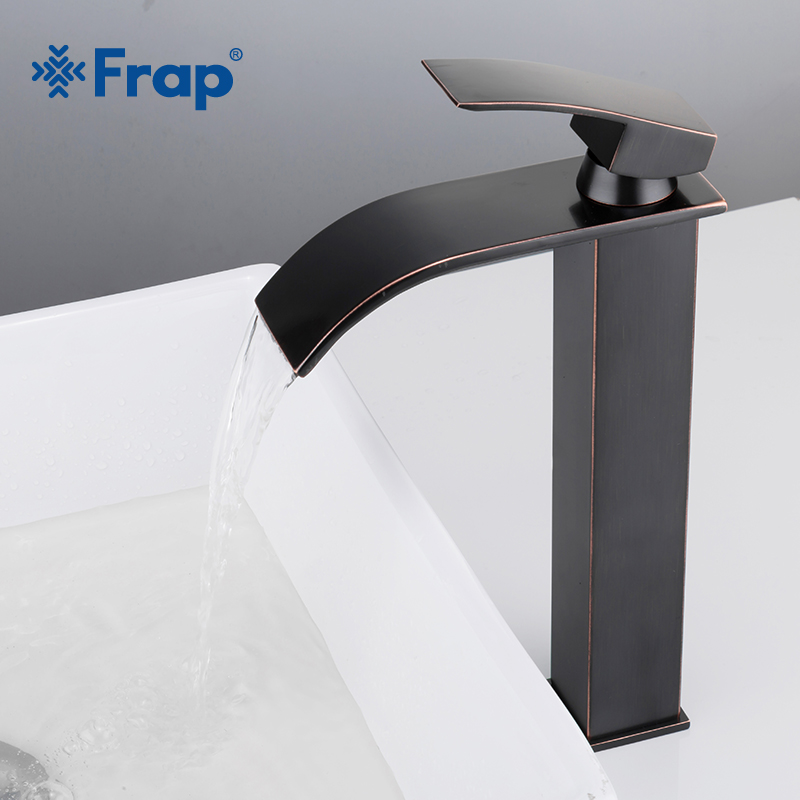 Frap Hot Sale Antique black tall Waterfall Basin Faucet Single Handle Bathroom Hot and Cold water