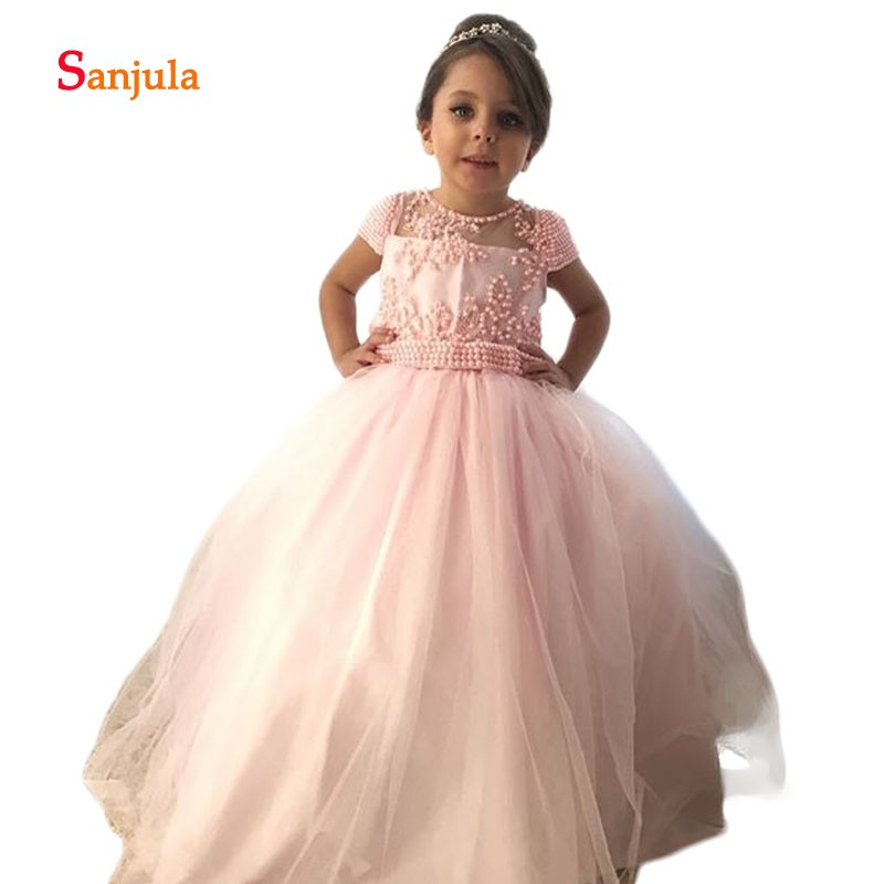 Cap Sleeve Pink Ball Gown Princess   Flower     Girls     Dresses   Stunning Beading Attractive   Girls   Birthday Party   Dresses   Sheer Back D92