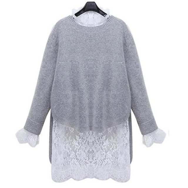 5XL Long Sweater Dress 2016 New Spring Winter Women Fashion Pullovers Jumper Sexy Knitted Sweaters Dresses Lace Two Pieces Set