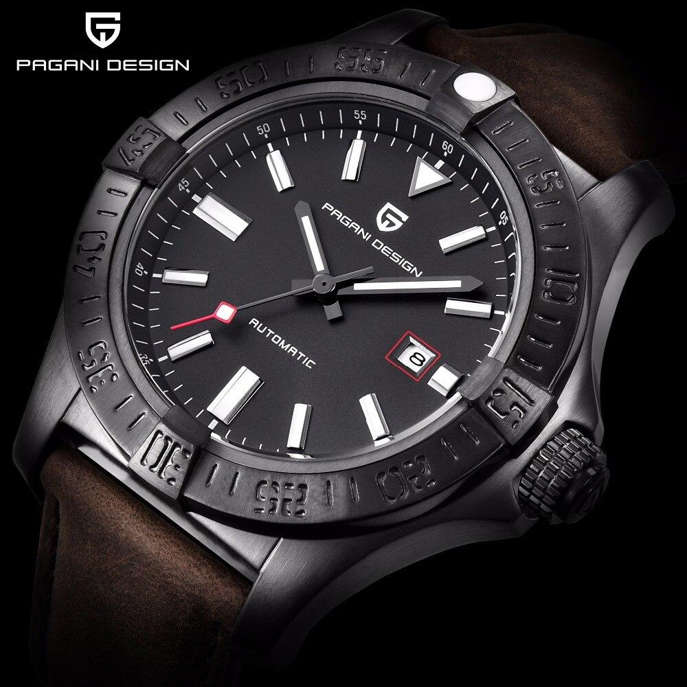 PAGANI projekt Top marka luksusowe mężczyźni automatyczne zegarki mechaniczne moda skórzane klasyczne męski zegarek biznesowy relogio masculino w Zegarki mechaniczne od Zegarki na  Grupa 1